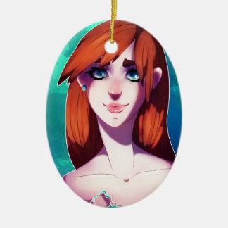 Mädchen-Porträt Ovales Keramik Ornament