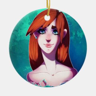 Mädchen-Porträt Rundes Keramik Ornament