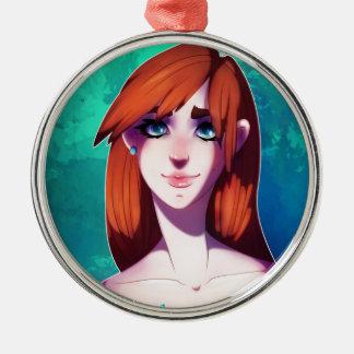 Mädchen-Porträt Rundes Silberfarbenes Ornament