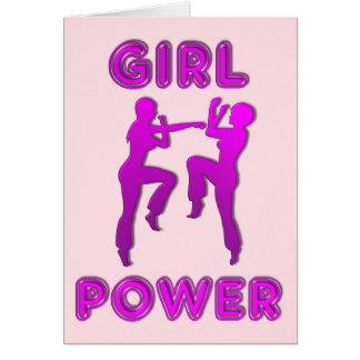 Mädchen-Power-Kriegskunst-Frau-Gruß-Karte Grußkarte