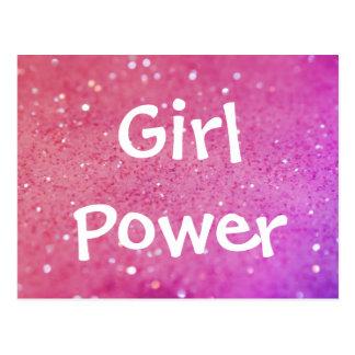 Mädchen-Power-Rosa-Glitter Bokeh Postkarte