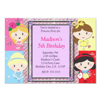 Mädchen-Prinzessin Party Birthday Invitation Karte