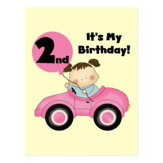 Mädchen rosa Auto-in den 2. Geburtstags-T-Shirts Postkarte