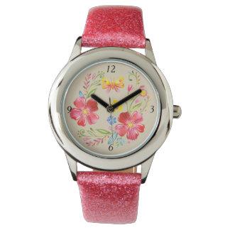 Mädchen-rosa Blumen u. Schmetterling Uhr