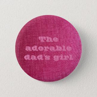 Mädchen-Rosa-Button des Vatis Runder Button 5,7 Cm