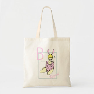 Mädchen rosa Kaninchen niedlicher Bananengrund Budget Stoffbeutel