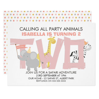 Mädchen-Safari-Tier-2. Geburtstags-Party Einladung