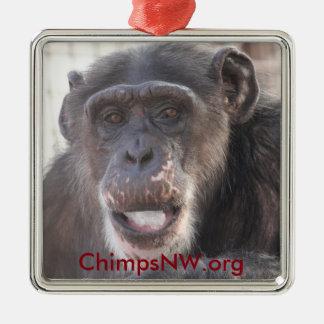 Mädchen-Schimpanse-Quadrat-Verzierung Quadratisches Silberfarbenes Ornament