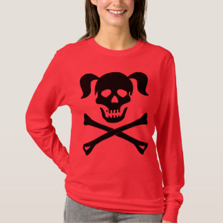 Mädchen-schwarzer Totenkopf mit gekreuzter Knochen T-Shirt