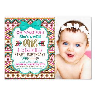 Mädchen-Stammes- erstes 1. Geburtstags-Party Karte