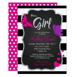 Mädchen-Tafel-Schmetterlings-Babyparty-Einladung Karte