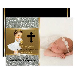 Mädchen-Taufe danken Ihnen | kundenspezifisches 12,7 X 17,8 Cm Einladungskarte