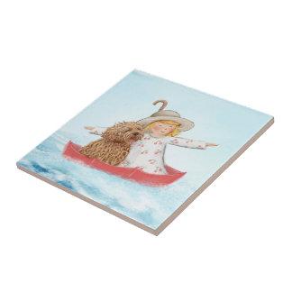 Mädchen u. Hund mit Regenschirm in dem Meer Fliese