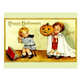 Mädchen-u. Jungen-Vintager Bild-Halloweenkürbis u. Postkarte
