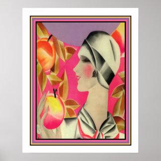 """""""Mädchen-u. Obstbaum-"""" Kunst-Deko-Druck Poster"""