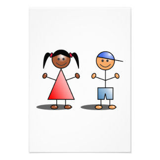 Mädchen-und Jungen-Strichmännchen Personalisierte Ankündigungen