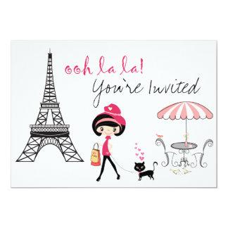 Mädchen-und Katzen-Paris-Geburtstags-Einladung
