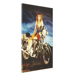 Mädchen-und Motorrad-Leinwand Leinwanddruck