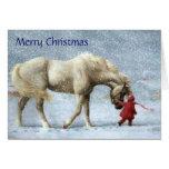 Mädchen-und Pferdeweihnachtskarte Grußkarten