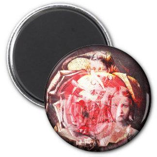 Mädchen-und Rosen-Digital-Collage durch einen Runder Magnet 5,1 Cm