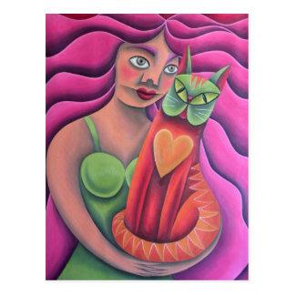 Mädchen und seine grüne Katze Malerei Ölgemälde Postkarte