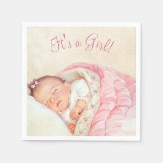 Mädchen-Vintage Baby-Dusche Papierserviette