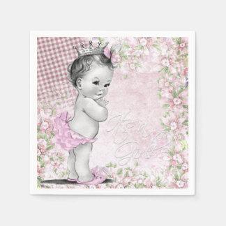 Mädchen-Vintage Baby-Dusche Servietten