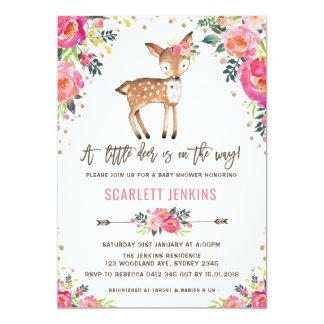 Mädchen-Waldrotwild-Babyparty-Einladung mit Blumen Karte
