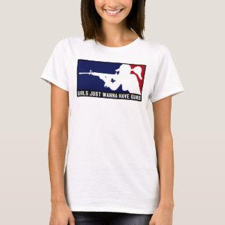 Mädchen wollen gerade, um Gewehr-Shirt zu haben T-Shirt