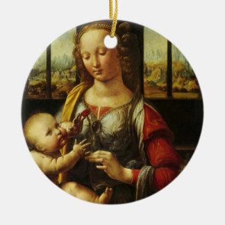 Madonna der Gartennelke durch Leonardo da Vinci Keramik Ornament