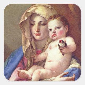 Madonna des Goldfinch Quadratischer Aufkleber