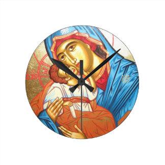 Madonna mit byzantinischem religiösem Ikonengold Runde Wanduhr