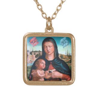 Madonna mit Engeln Vergoldete Kette