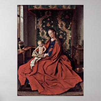 Madonna und Kind, die bis Januar van Eyck lesen Poster