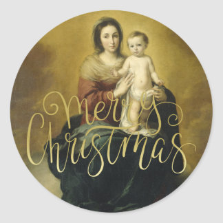 Madonna und Kind, Kunst-Weihnachtsaufkleber Runder Aufkleber
