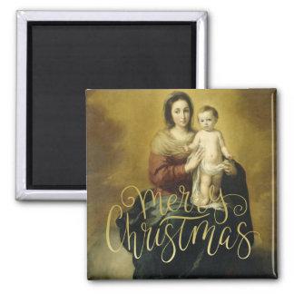 Madonna und Kind, Kunst-Weihnachtsmagneten Quadratischer Magnet