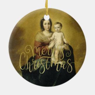 Madonna und Kind, Kunst-Weihnachtsverzierung Rundes Keramik Ornament