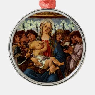 Madonna und Kind mit acht Engeln durch Botticelli Rundes Silberfarbenes Ornament