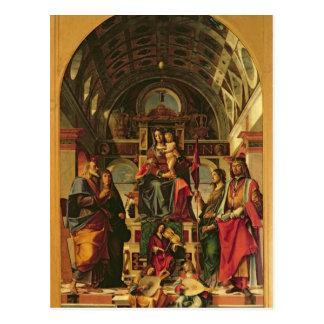 Madonna und Kind mit Heiligen, 1499 Postkarte