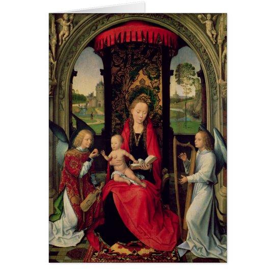 Madonna und Kind mit zwei Engeln Karte