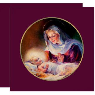 Madonna und Kind. Religiöse Weihnachtskarten Quadratische 13,3 Cm Einladungskarte