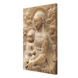 Madonna und Kinderengels-Marmor rustikal Leinwanddruck