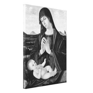 Madonna und Kinderschwarzweiss-Ölgemälde Leinwanddruck