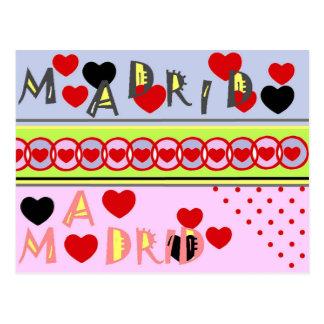 Madrid Spanien lustige Herzen Postkarte