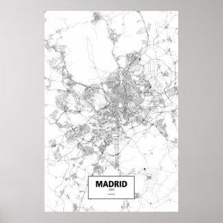 Madrid, Spanien (Schwarzes auf Weiß) Poster