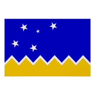 Magallanes, Chile, die Antarktis-Flagge Poster
