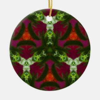 Magentarotes Pfirsich-Grün-Kaleidoskop-Muster Rundes Keramik Ornament