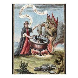 Magier und Drache am großen Kessel von Alchimie Postkarte