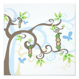 Magische Baum-Doppeljungen-Erbse in der Quadratische 13,3 Cm Einladungskarte
