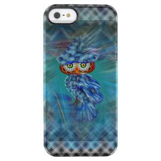 Magische blaue Gefieder-Mode-Eule Durchsichtige iPhone SE/5/5s Hülle
